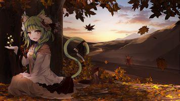 Заставки девушка, аниме, зеленые волосы