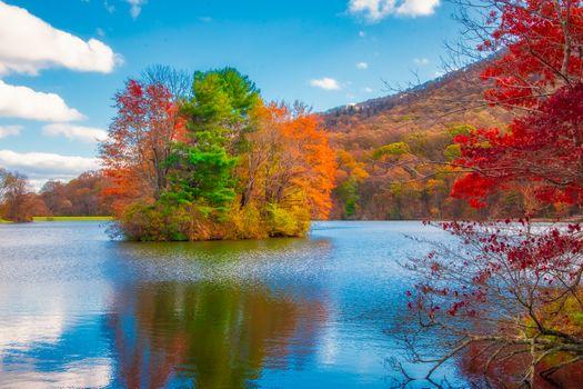 Фото бесплатно Blue Ridge Parkway, Virginia, озеро, осень, деревья, остров, природа, краски осени, пейзаж
