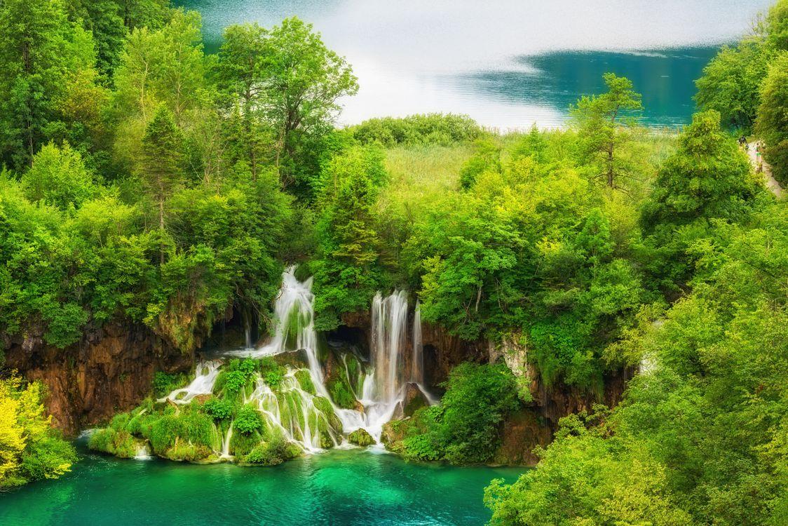 Фото бесплатно Плитвицкие озера, Национальный парк Плитвицкие озера, Plitvice Lakes national park, Croatia, Хорватия, водоём, водопад - на рабочий стол