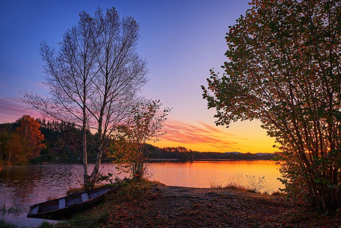 Фото бесплатно закат, озеро, осень, лодка, берег, деревья, природа - на рабочий стол