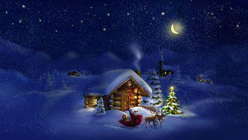 Бесплатные фото зима,ночь,луна,домик,дед мороз,снег,деревья