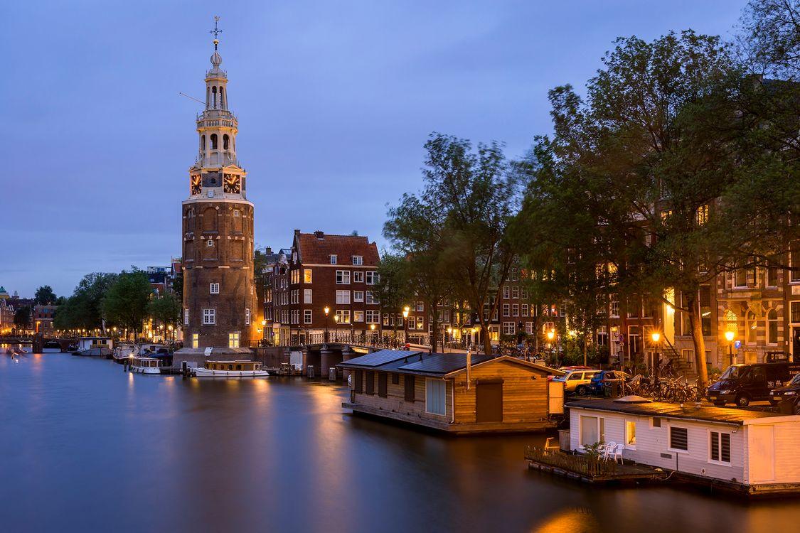 Фото бесплатно Blue Hour, Montelbaanstoren, Amsterdam, Holland, город