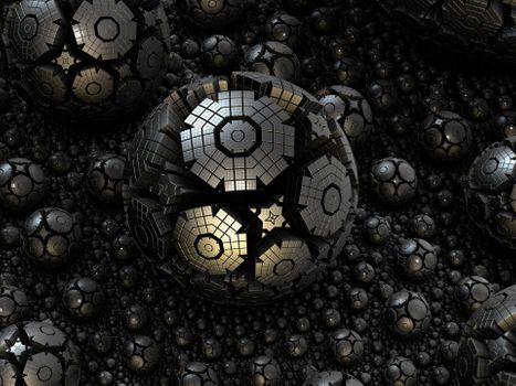 Фото бесплатно фрактал, сфера, сталь