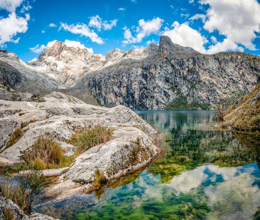 Free photo Lagoon, mountain, sky - to desktop