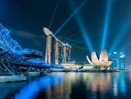 Бесплатные фото Marina Bay Sands,Helix Bridge,Singapore,город,ночь,ночные города,иллюминация