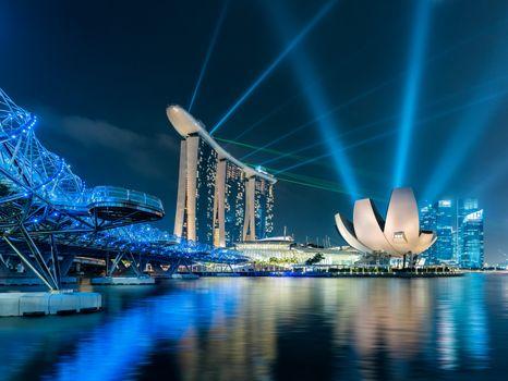Фото бесплатно Marina Bay Sands, Helix Bridge, Singapore