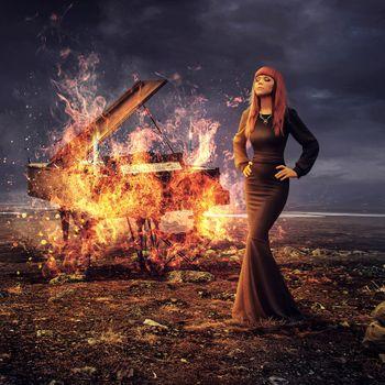 Фото бесплатно девушка, горящий рояль, фантазия