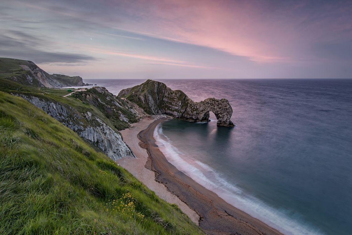 Фото бесплатно Дорсет, Ла-Манш, Durdle Door, море, закат, берег, пляж, скалы, арка, пейзаж, пейзажи
