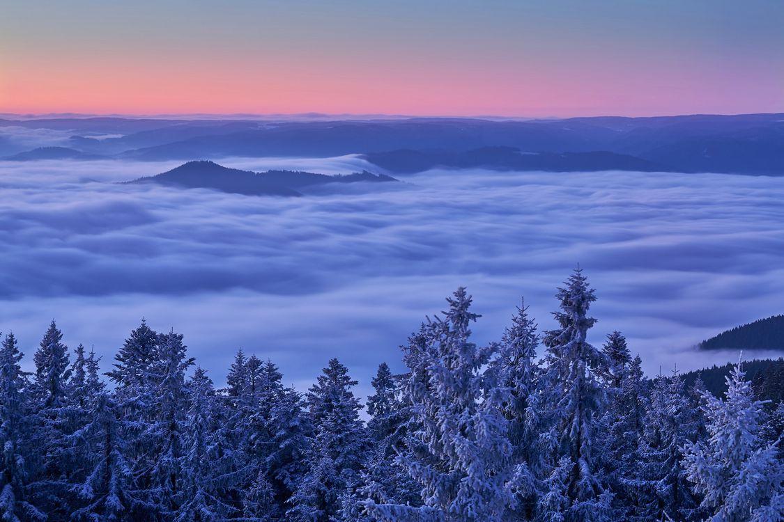 Фото бесплатно Kinzig Valley, Долина, Германия, Шварцвальд, закат, зима, горы, облака, деревья, пейзаж, пейзажи