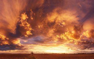 Фото бесплатно облака, оранжевое небо, поле