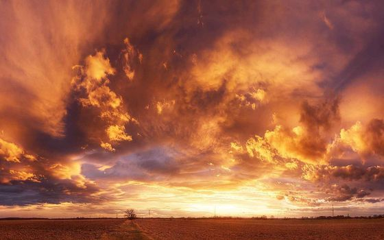 Photo free clouds, orange sky, field