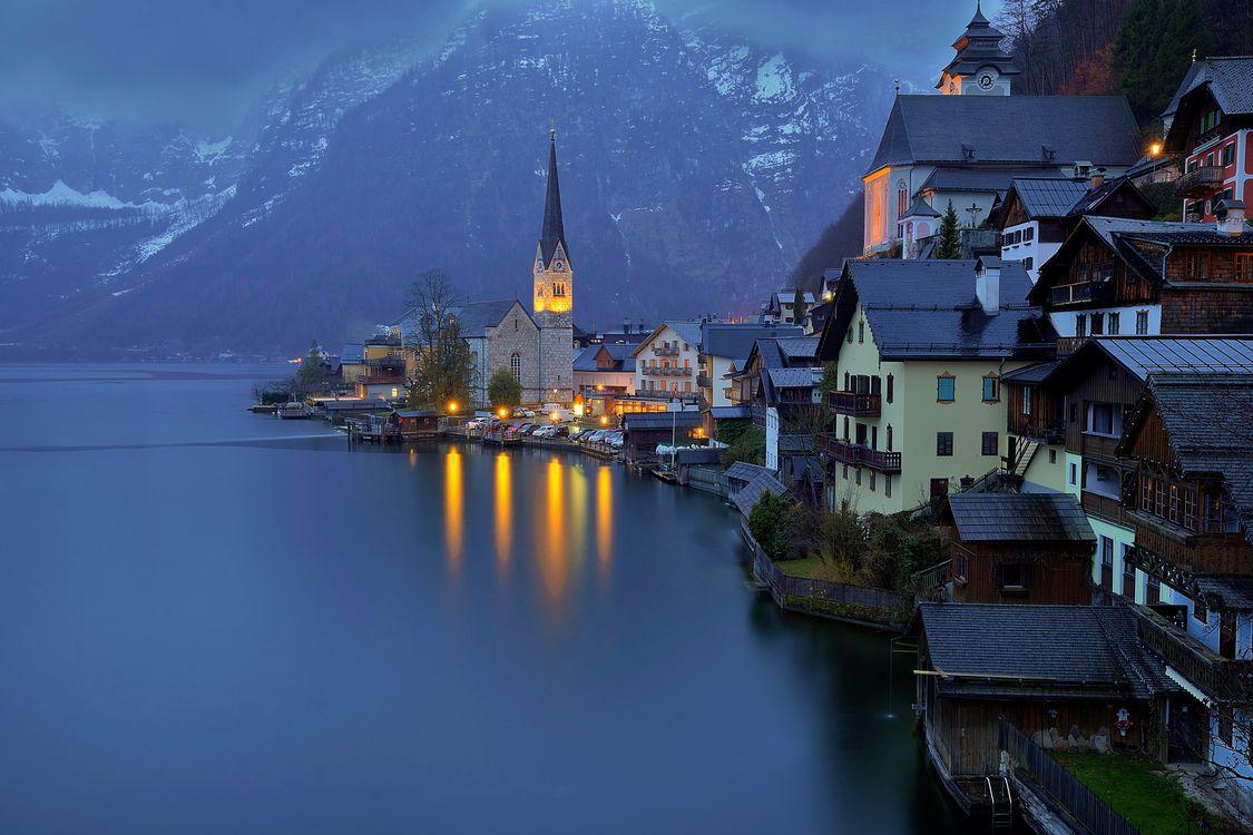 Фото бесплатно Hallstatt, Хальштатт, Гальштат, Австрия, озеро Хальштаттерзее, город, пейзаж, город