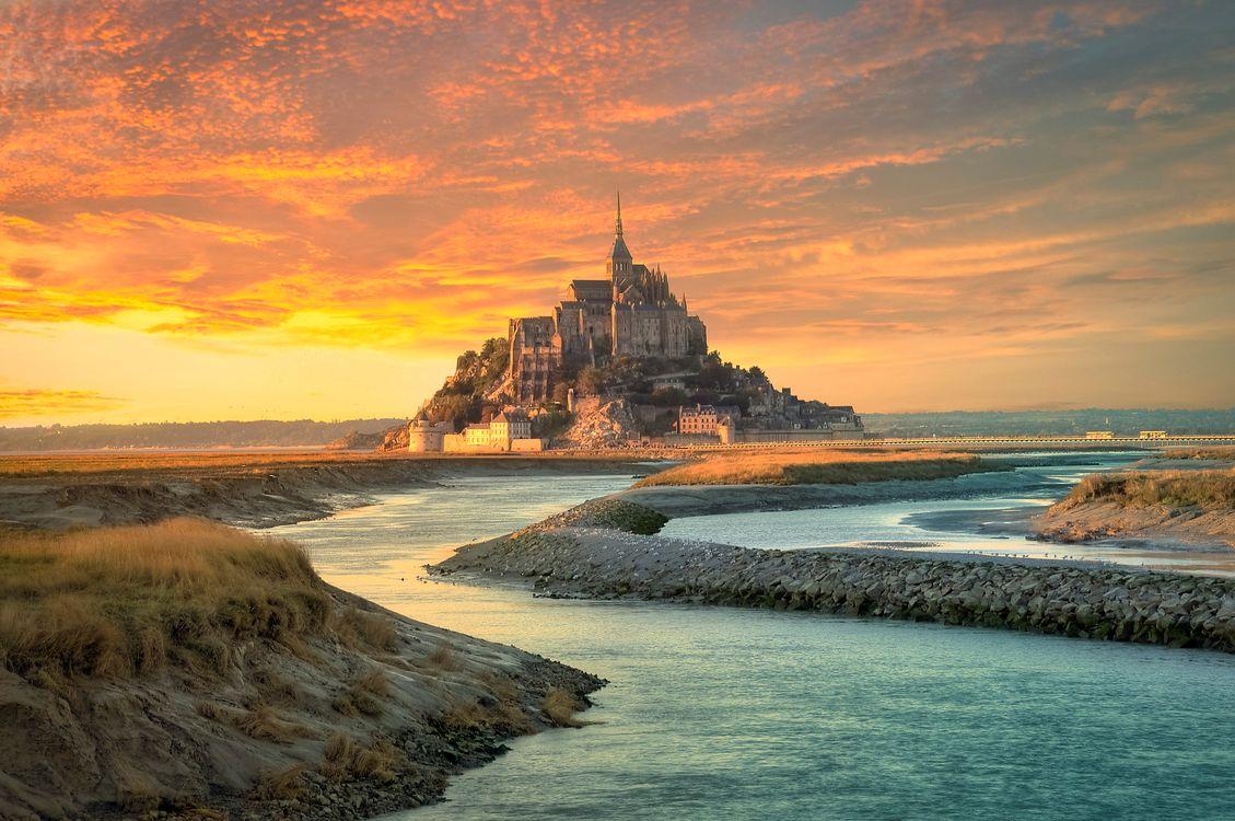 Фото бесплатно Mont-Saint Michel, Мон-Сен-Мишель, Франция - на рабочий стол