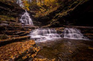 Заставки река, осенние листья, природа