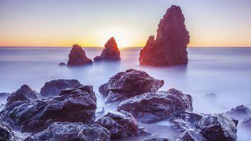 Заставки Horizon, sunset, landscape