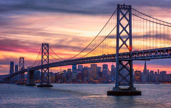 Фото бесплатно Сан-Франциско, Мост, закат