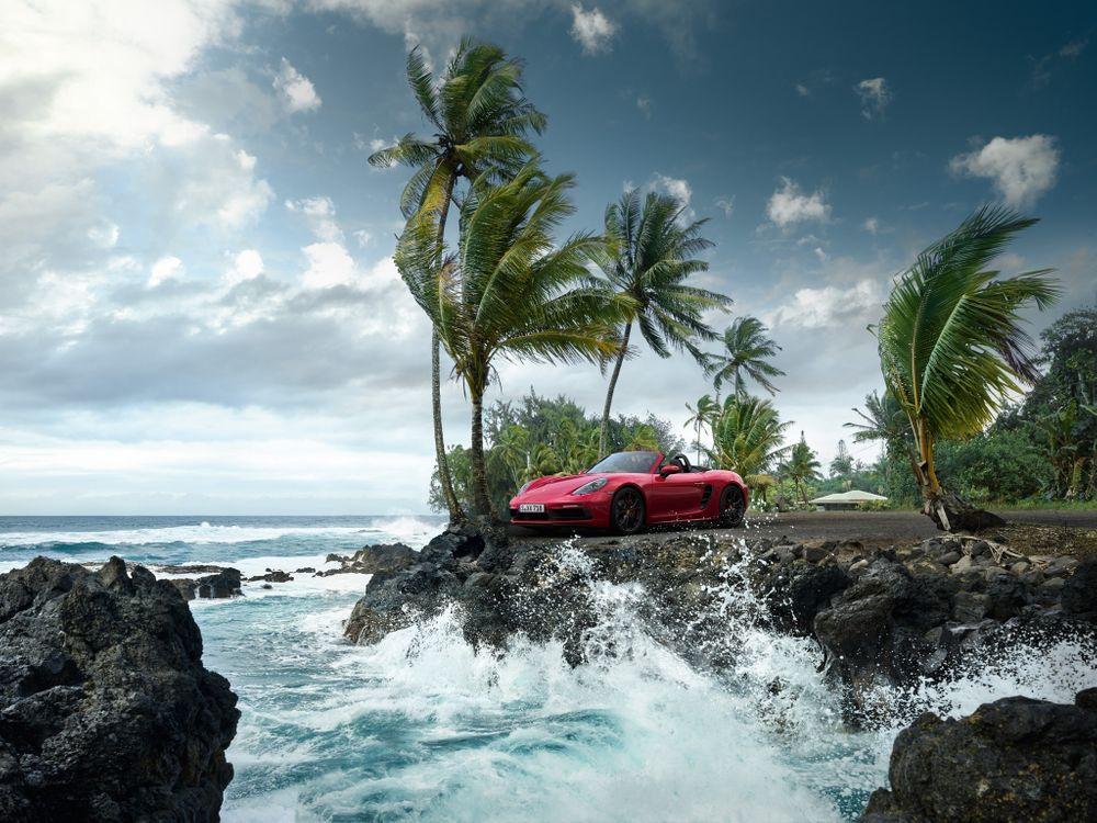 Фото бесплатно Porsche 718 Boxster S, океан, пальмы - на рабочий стол