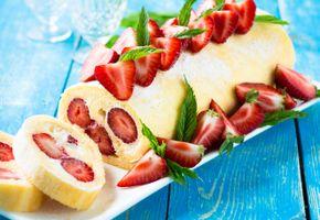 Бесплатные фото рулет,десерт,ягоды,тортик,клубника