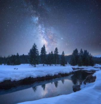 Заставки река, сияние, снег