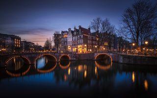 Бесплатные фото Amsterdam,Амстердам,город,Нидерланды,Голландия,ночь,огни