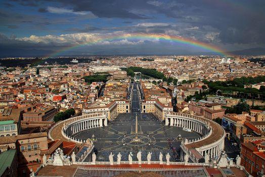 Бесплатные фото Рим,Италия,город,дома,небо,радуга