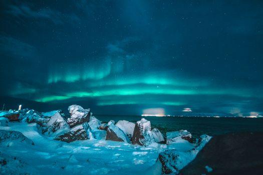 Бесплатные фото белый,снег,северный свет,северное сияние,ночь,Рейкьявик,Исландия,пляж