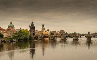 Фото бесплатно город, река Влтава, дома