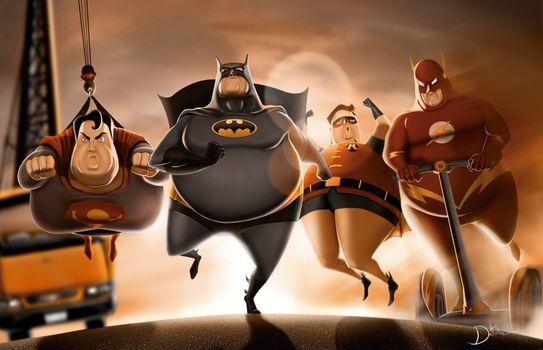 Фото бесплатно Бэтмен, Робин, супермен