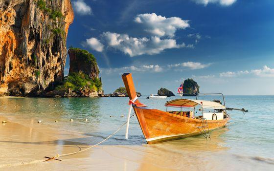 Фото бесплатно пляж, лодка, скалы