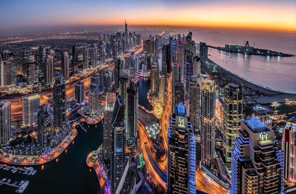Фото бесплатно Дубай, ночные города, огни - на рабочий стол