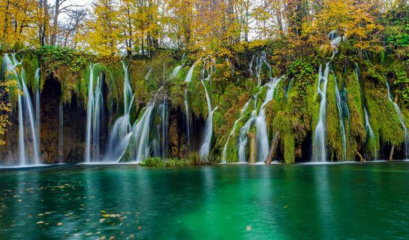 Photo free Croatia, Plitvice Lakes National Park, waterfall