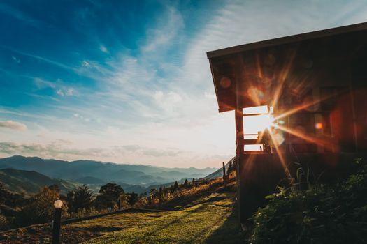 Photo free village, sun light, clouds