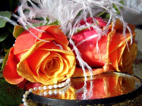 Фото бесплатно цветы, апельсин, жемчуг