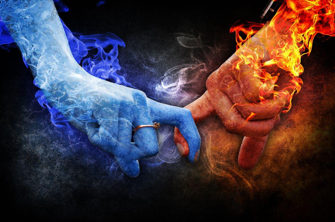 Обои руки, пальцы, огонь, пламя, любовь, фотошоп, art картинки на телефон