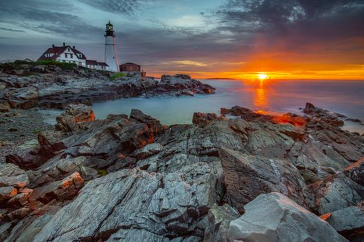 Photo free LIghthouse, sunset, Atlantic Ocean