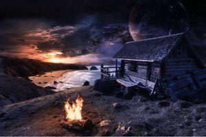 Бесплатные фото закат,сумерки,море,берег,небо,облака,домик