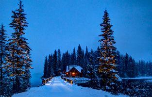 Заставки Emerald Lake,Yoho National Park,Canada,Изумрудное озеро,Национальный парк Йохо,Канада,зима