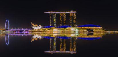 Фото бесплатно Сингапурский горизонт, вид на небоскребы, Марина-Бей