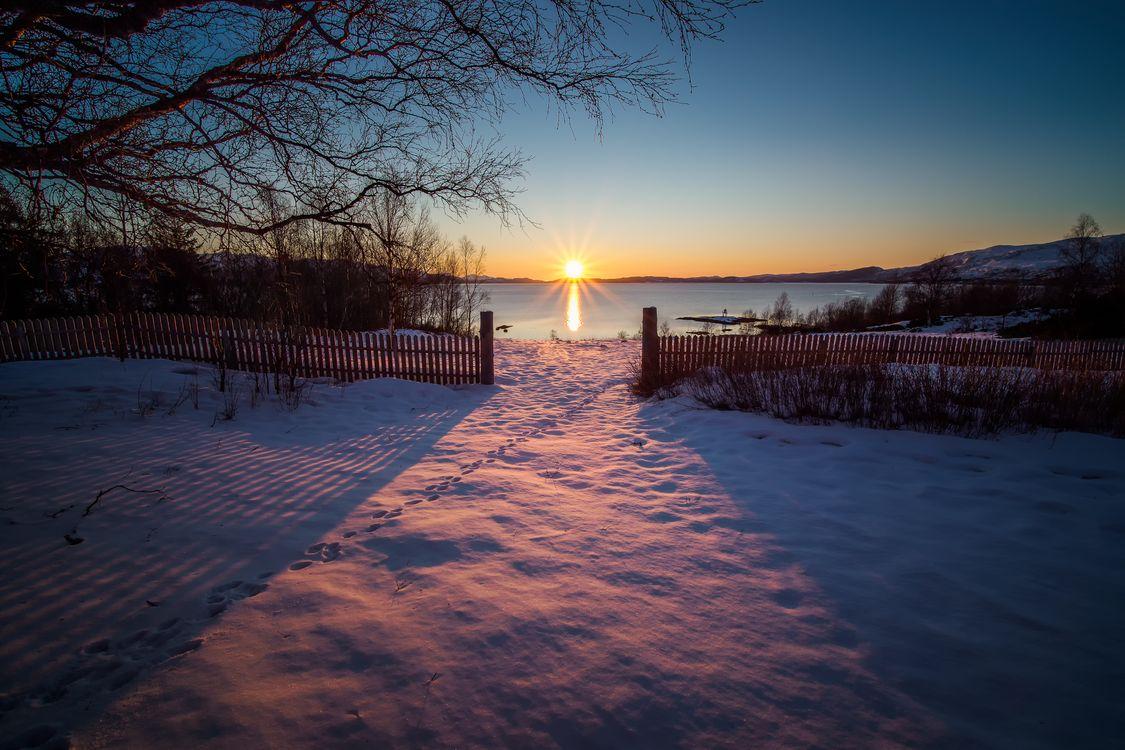 Фото бесплатно закат солнца, зима, поле - на рабочий стол