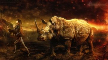 Фото бесплатно девушка, носорог, цепь, насильница, красотка, фантастика, фантазия, фэнтези, art