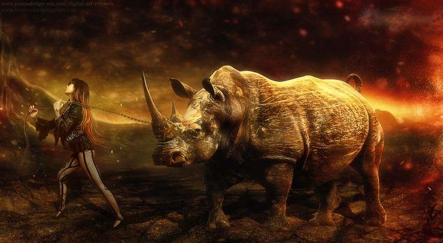 Фото бесплатно девушка, носорог, цепь