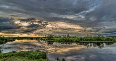 Бесплатные фото Финляндия,река,закат,небо,облака,отражение,рыбаки