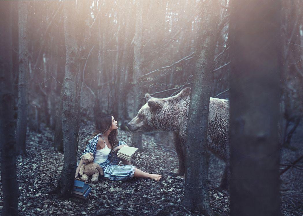 девушка и медведь · бесплатное фото