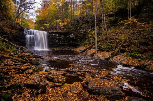 Фото бесплатно Государственный парк Ricketts Глен, скалы, осенние цвета