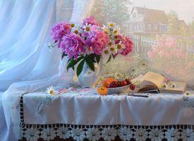 Фото бесплатно маргаритки, ваза, пионы