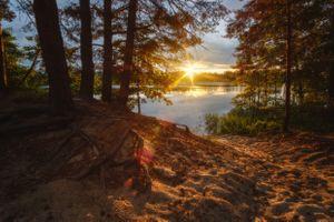 Рассвет на озере в Подмосковье · бесплатное фото