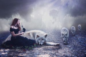Photo free the girl and the wolves, lady, wolves