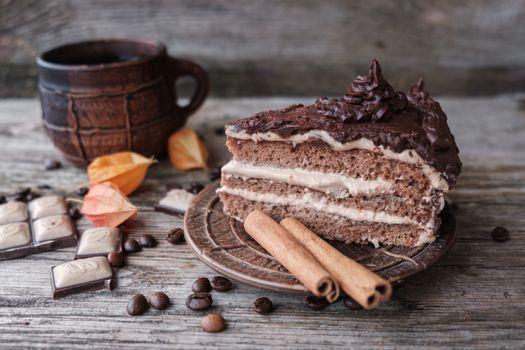 Кусок торта с шоколадным кремом