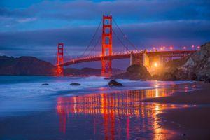 Бесплатные фото Мост Золотые Ворота,Сан-Франциско,Golden Gate Bridge,море,берег,свечение,сумерки