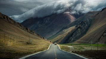 The road between mountains